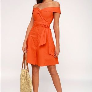 Lulu's ASTR Brittany Off the Shoulder Orange Dress